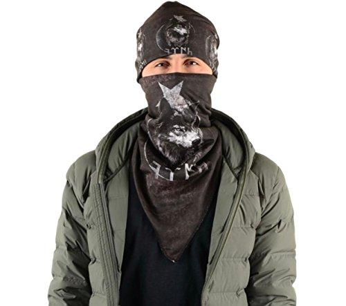 Gök-Türk Unisex Schwarz Maske + Mütze Mundschutz für Radfahren Anti-Staub Gesichtsmaske (Wolf)