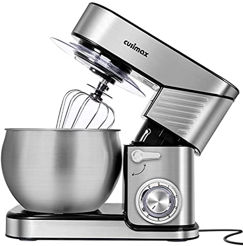 Stand Mixer, CUSIMAX 6.5QT Stainless Steel Mixer 6-Speeds Tilt-Head Dough Mixers for Baking with Dough Hook, Wire Whisk & Flat Beater, Splash Guard for Home Cooking kitchen Mixer, Silver