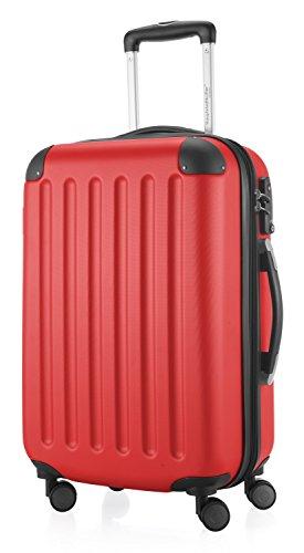 HAUPTSTADTKOFFER - Spree - Handgepäck Hartschalen-Koffer Trolley Rollkoffer Reisekoffer Erweiterbar, TSA, 4 Rollen, 55 cm, 42 Liter, Rot