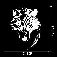 車のステッカーの装飾 13.1CMX17.5CM抽象ウルフプレデター飾りヘッドビニール車ステッカー (Color Name : Silver)