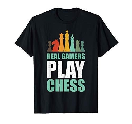Jugador de ajedrez Real Gamers Play Chess Retro Gift Chess Camiseta