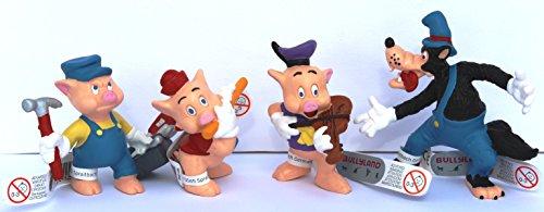 Bullyland - Disneys 3 kleine Schweinchen - Spielset 4 Figuren inkl. böser Wolf