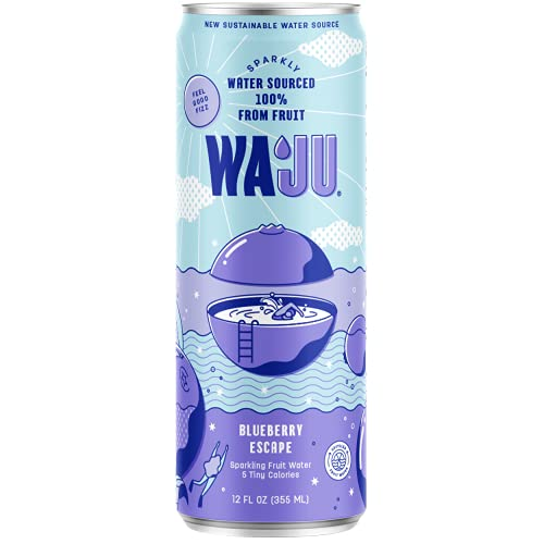 WAJU - Blueberry Sparkling Wellness Water, New Sustainable Water Source, Immune Support, Antioxidants & 100% DV Vitamin C, Hydration from Fruit, Upcycled, No Added Sugar (12 oz, 12-Pack)