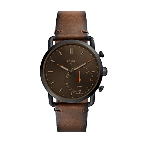 Fossil Men's Commuter Stainless Steel and Leather Hybrid Smartwatch, Color: Black, Brown (Model: FTW1149)