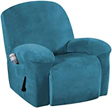 1 Piece Stretch Real Super Velvet Plush Recliner Slipcovers, Recliner Chair Cover, Recliner Cover Furniture Protector Elastic Bottom, Recliner Slipcover with Side Pocket, Peacock Blue