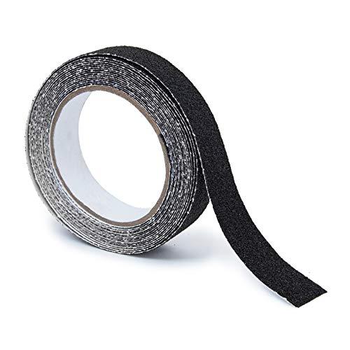 Relaxdays Anti-Rutsch-Klebeband 25 mm Rolle mit 5 m Grip Tape als Antirutschbelag für rutschfeste Treppenstufen im Innen- und Außenbereich, schwarz