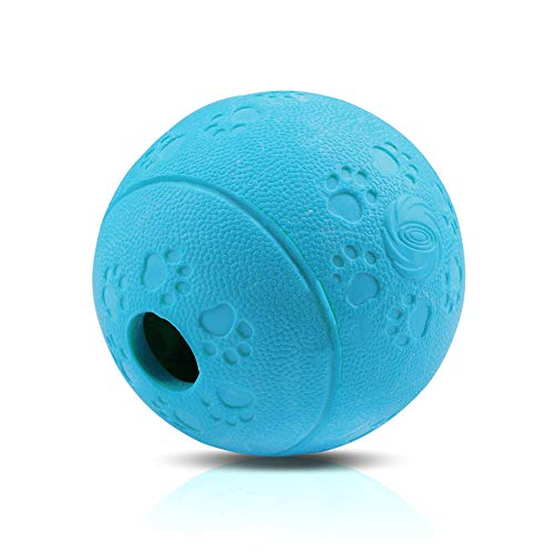 AriTan Interactive Food Dispensing Dog Rubber Toy Ball,Large 3.2', 100% Non-Toxic Chew Toys for Pet Tooth Cleaning, Chewing, Playing, Pet Exercise Game Ball IQ Training Ball(Blue)