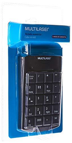 Teclado Numérico Multilaser Com Cabo Retrátil Usb 20 Teclas Preto - Tc230, Multilaser, Teclados, Windows 98/ ME/ 2000/ XP/Vista ou superior, Preto