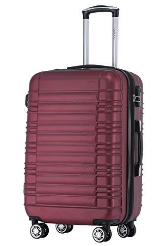 BEIBYE 2088 Zwillingsrollen Reisekoffer Koffer Trolleys Hartschale M-L-XL-Set (Weinrot, L)