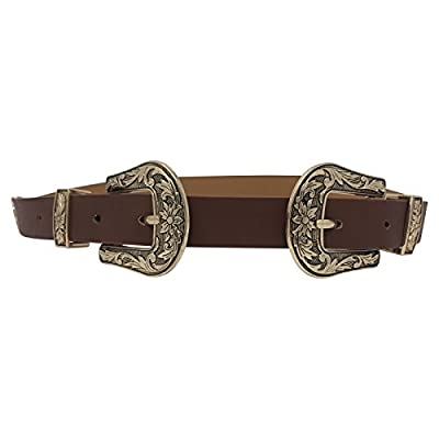 Live It Style It Womens Double Buckle Thick Quality Faux Leather Western Belt Ladies Waist Band (Brown Gold)