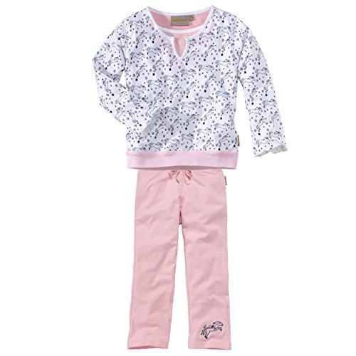 wellyou, Kinder-Schlafanzug, Langarm, für Mädchen, mit Pferde-Motiv, in rosa/weiß, Größe 128-134