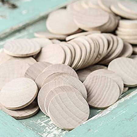 """Factory Direct Craft Unfinished Wood Round Disc Cutouts   Package of 100   1-1/2"""" Diameter"""