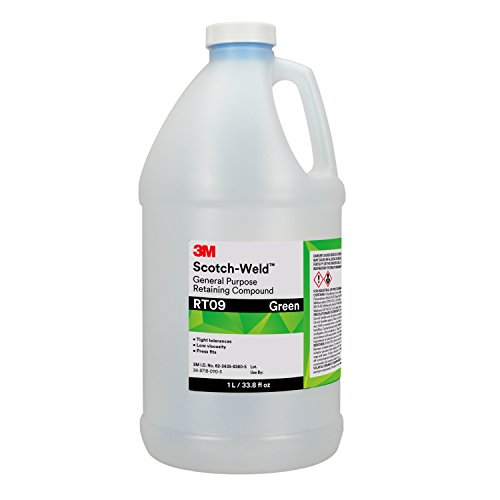 3M Scotch-Weld 31977-case General Purpose Retaining Compound RT09, 1 L Bottle, Green, 33.8 fl. oz.