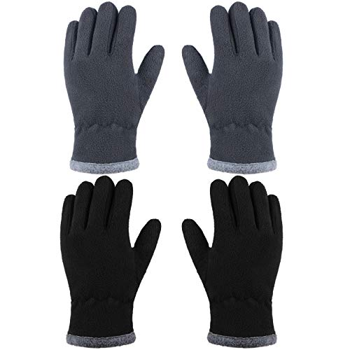 Cooraby 2 Pairs Kids Winter Fleece Gloves Soft Warm Lined Full Fingers Gloves for Boys Girls