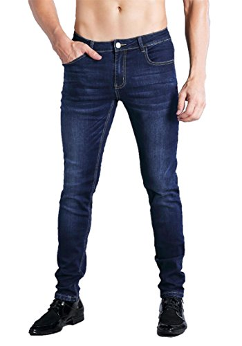 ZLZ Slim Fit Jeans, Men's Younger-Looking Fashionable Colorful Comfy Stretch Skinny Fit Denim Jeans Blue