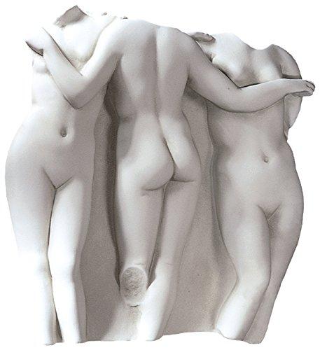 Design Toscano OS68903 Frammento da Parete Le Tre Grazie, Pietra Antica, 7.5x38x39.5 cm