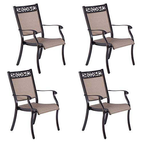 Casual World Outdoor Dining Chairs Set of 4 with Armrests, Aluminum Patio Sling Bistro Chairs with Breathable Fabric for Lawn, Garden, Backyard, Poolside, Deck