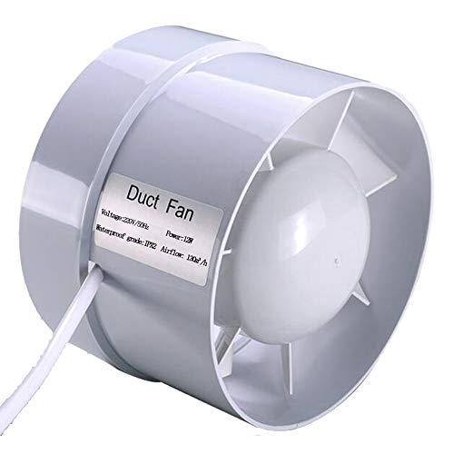 Extractor en línea con flujo mixto, 100 mm 130m³/h 12W, Circulación de aire en respiraderos, baños, cocinas, invernaderos, carpas (4 inch)