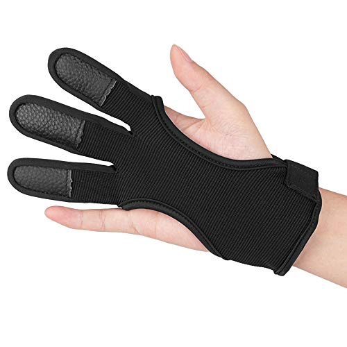 KRATARC Archery Gloves Finger Protector Youth Kids Shooting Hunting Arrow Bow for Boys Girls Protective Gear Accessories (Black (9~10Y/O))