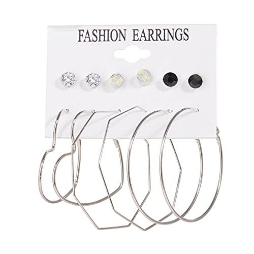 FEARRIN Pendientes de Moda Conjunto de Pendientes Vintage para Mujer Pendientes de Punto de ratán Colgantes de Oro Pendientes Brincos Jewelry H225-526-04