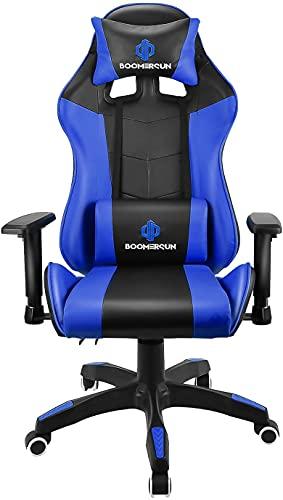 Boomersun Silla Gaming de Oficina Silla ergonómica Racing Silla de Ordenador con función basculante, ángulo de inclinación Ajustable (Azul)