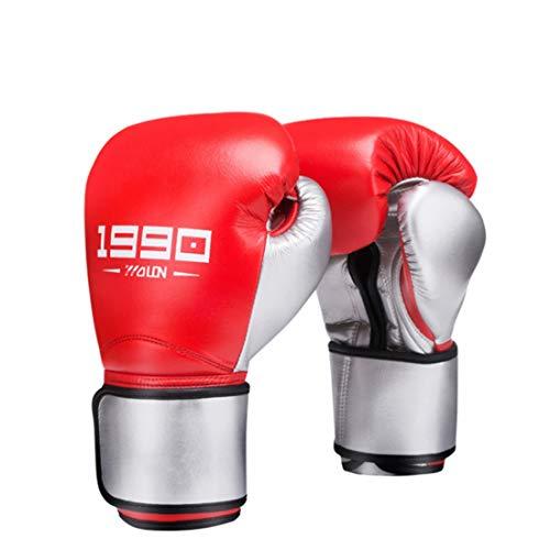 Gözəl Boxhandschuh Stanzen Mit hohen Atmungs Thick-Kissen for Boxing Gym/Boxen Muay Thai Sanda MMA Mixed Martial Arts (Color : Red, Size : 12OZ)