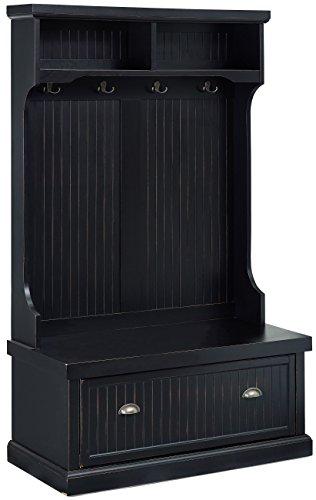 Crosley Furniture Seaside Hall Tree - Distressed Black