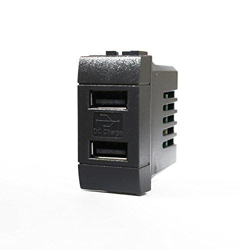 1 PRESA USB DA INCASSO DOPPIA 2A NERO COMPATIBILE BTCINO LIVING