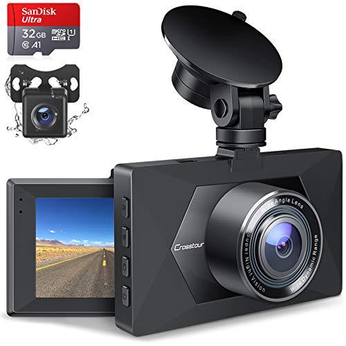Crosstour Dashcam Auto Vorne und Hinten, Autokamera mit 32GB MicroSD-Karte, 1080P Full HD Dual Lens Kamera, 170 ° Weitwinkel mit Nachtsicht, G-Sensor, Parküberwachung, Loop-Aufnahm …