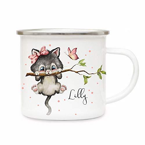 ilka parey wandtattoo-welt Emaille Becher Camping Tasse Motiv Katze Kätzchen auf AST & Wunschname Name Kaffeetasse Geschenk eb495