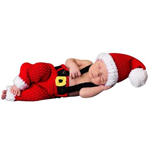 .b Bebé recién nacido Tema Navidad Fotografía Ropa Tirantes Pantalones + Sombrero