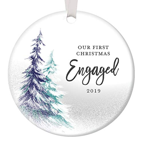 1st Christmas Engaged Ornament 2019 Engagement Party Gifts for Couple, First Xmas as Fiance Fiancee Man Woman Gay Present Idea Ceramic Keepsake 3' Flat Circle Porcelain with White Ribbon & Free Box