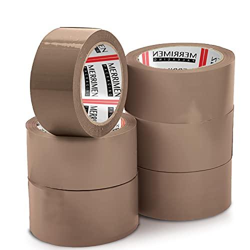 Merrimen Lot de 6 rouleaux de ruban adhésif demballage marron 48 mm x 66 m pour colis et boîtes Ce lot de 6 rouleaux de ruban adhésif demballage robuste marron fournit un joint solide