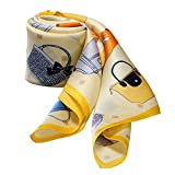 21' X 21' Small Square 100% Silk Scarf Neckerchief Soft Smooth (Bags Light Yellow)