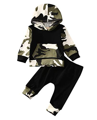 Shangrui 2Stk Säugling Junge Kleider Set Tarnung Mit Kapuze Tops + Hosen