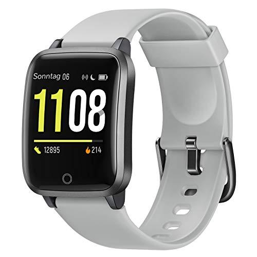 Letsfit Smartwatch, Fitness Tracker Armbanduhr mit Schlafmonitor, Heart Rate Monitor, IP68 Wassedicht Smart Watch mit Pedometer Stoppuhr, Activity Tracking für Damen und Herren(Grau)