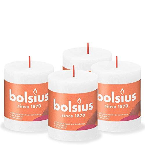 Bolsius Rustic Pillar Candle, White, 8 x 7 cm (Pack 4)