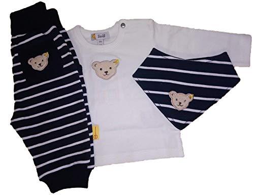 Steiff - Ensemble de vêtements pour bébé, chemise, pantalon, écharpe triangulaire et coffret cadeau - Bleu - 6 mois