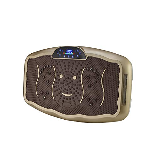ZHYJJ Ultraflache Vibrationsplatte Mit LCD Display & Bluetooth Lautsprecher Levelfernbedienung, Trainingsbänder & Übungsposter,Brown