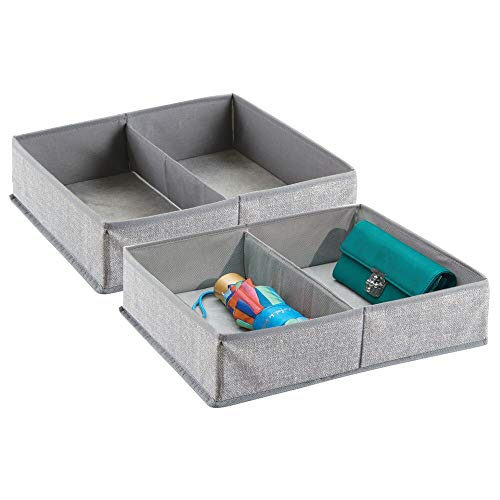 mDesign Juego de 2 cajas organizadoras de tela con 2 compartimentos – Los organizadores para cajones y armarios ideales – Versátiles cestas de tela – Color: gris