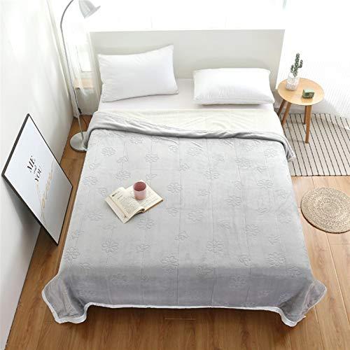 LJHSS Throw Blanket, Fleece Flannel Blanket, Full Size, Soft Cozy Microfiber Blanket, Solid Color, Soft Warm Lightweight Blanket For Bed, Sofa Blanket (Color : Gray, Size : 200X230cm)