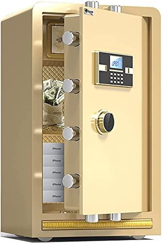 TOPNIU Caja fuerte electrónica ignífuga, gran gabinete de seguridad para oficina en casa, caja de acero resistente antirrobo, cerradura de llave con código, 70 cm de altura (color oro)