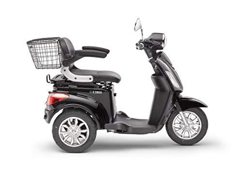 Elektroroller LuXXon E3800 - Elektro Dreirad für Senioren mit 800 Watt, max. 20 km/h, Reichweite bis zu 63 km, schwarz