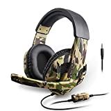 Neubula Casque Anti Bruit Camouflage, Compatible Avec Microphone PS4 / PS3 / ONE / 360 / Switch, pour Ordinateur, Tablette, Ordinateur Portable