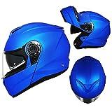 Kaski Motocyklowe Flip-up Bezpieczeństwo Męskie Hełm Pełna Twarz Modular Motocross Uncovered Kobieta Mężczyzna Four Seasons Anti-Fog Podwójny Soczewki Hełm Dla Chłopców Dziewczęta VIIPOO,Blue-M(56-57CM)