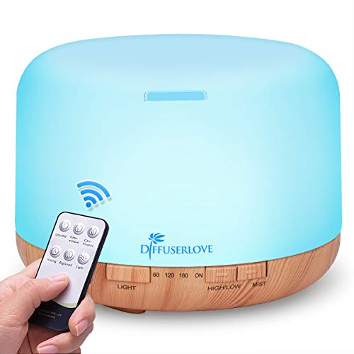 Diffuserlove Essential Oil Diffuser 500ML Remote Control Ultrasonic Aromatherapy Diffuser Cool Mist Humidifiers with Mute Design, Timer and Waterless Auto Shut-Off, 7 Color LED for Office Living Room
