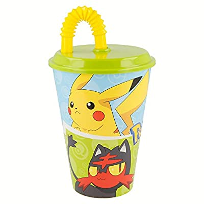 Pokemon Vaso con tapa y caña 430ml (Stor 06830) de Stor