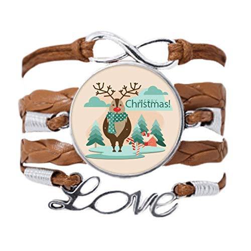 DIYthinker Merry Christmas Tree Reindeer Illustration Bracelet Love Chain Rope Ornament Wristband Gift