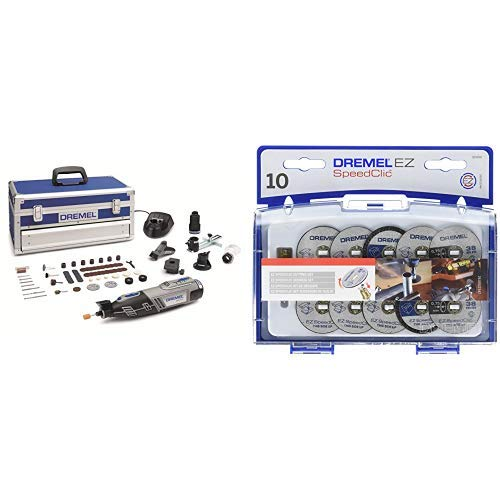 Dremel Akku Multifunktionswerkzeug 8220-5/65 + SpeedClic Schneid-Set (1x SC-Aufspanndorn, 6x Metall- Trennscheiben, 2x dünne Präzisionstrennscheiben, 2x Kunstoff-Trennscheiben, Aufbewahrungsbox)