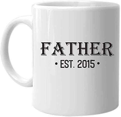 Not Applicable Padre EST. 2015 - Taza de café La Mejor Idea de Regalo de cumpleaños para el día de Fiesta de Navidad para Hombres y Familiares
